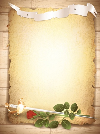 vintage grunge burnt paper at wooden background with red rose and sword