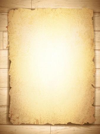vintage grunge burnt paper at wooden background, copyspace Ilustração