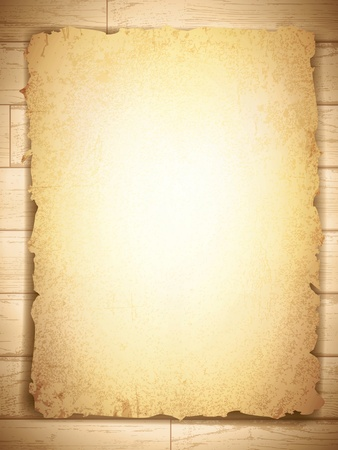 vintage grunge burnt paper at wooden background, copyspace Illustration