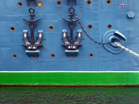 side of a ship with two anchors photo
