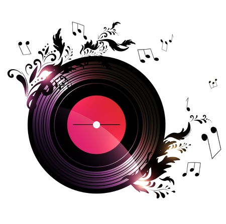 vinyl record with blank red label and floral music decoration over white background Vettoriali