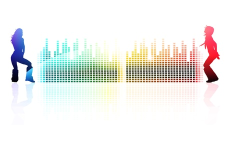 Rainbow multicolored abstract disco background with dancing girls Vector