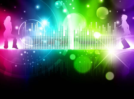 volume glow light: Rainbow multicolored abstract disco background with dancing girls