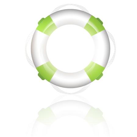 life buoy: green lifebuoy over white background