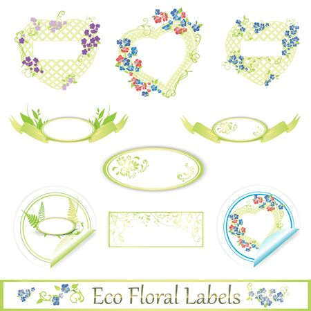 eco floral label set over white Vector