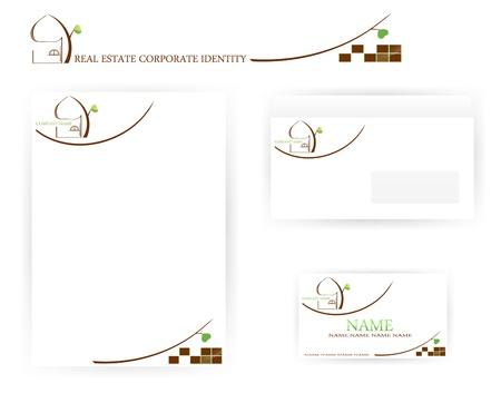 papier en t�te: ensemble de mod�les de l'immobilier d'identit� d'entreprise avec la maison et l'arbre abstrait