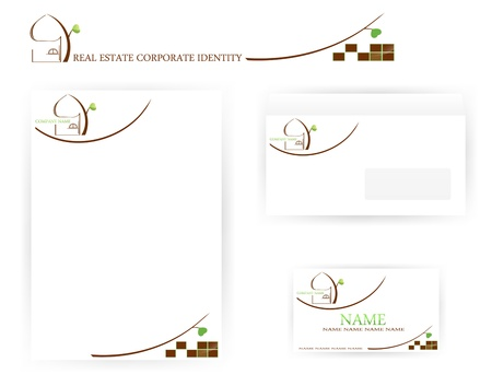 set of real estate corporate identity templates with abstract house and tree