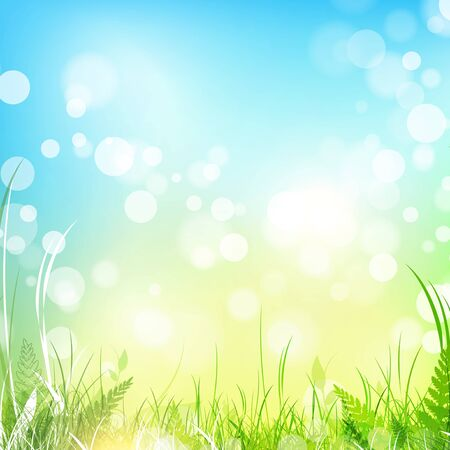fern leaf: spring meadow with green grass over blue sky, copyspace Illustration