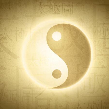 Yin Yang symbol with writing on Chinese  Ilustração
