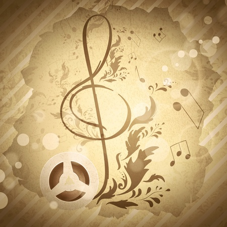 musicality: retro magnetic tape with treble clef over abstract floral grunge background