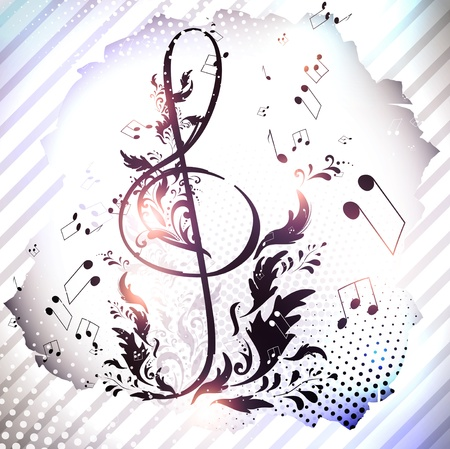 musicality: retro magnetic tape with treble clef over abstract floral background