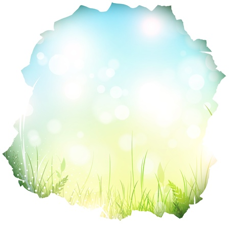 punched through: paper hole with spring background and green grass, copyspace