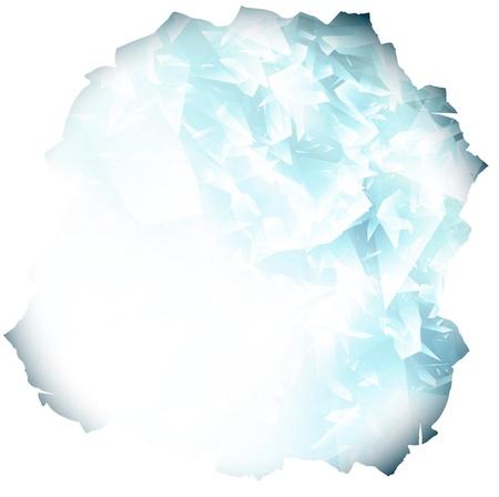 ice crushed: papier gat met glas of blauwe ijs achtergrond, copyspace Stock Illustratie