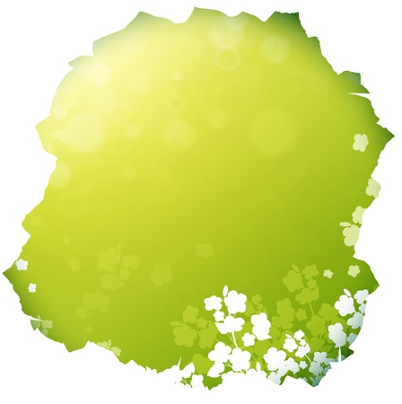 punched through: paper hole with Spring or summer background with flowers silhouette, copyspace Illustration