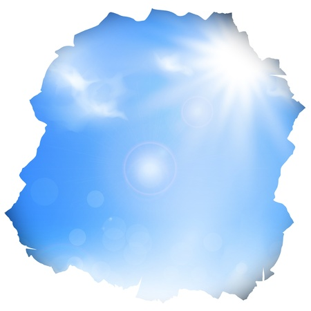 break in: paper hole with blue sky and sun , copyspace Illustration