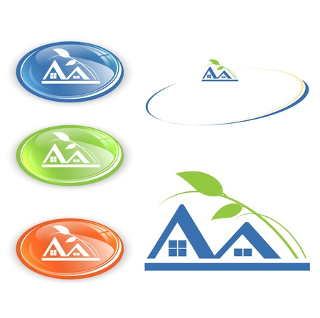 bungalow: cottage or camping emblem set over white