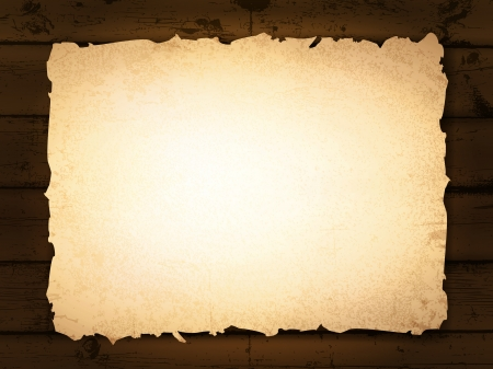 burnt edges: vintage grunge burnt paper at dark wooden background Illustration