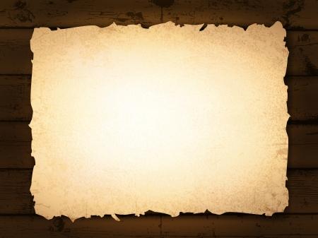 burnt paper: vintage grunge burnt paper at dark wooden background Illustration