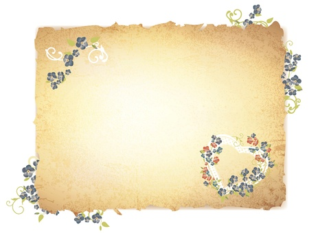 papyrus: vintage grunge burnt paper with forget me not flowers over white background