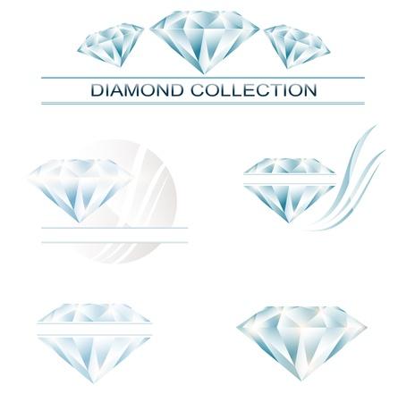 Diamond collectie: set van verschillende diamant illustratie ontwerpen