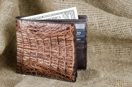 billfold: Wallet made of genuine crocodile leather over the linen background Stock Photo
