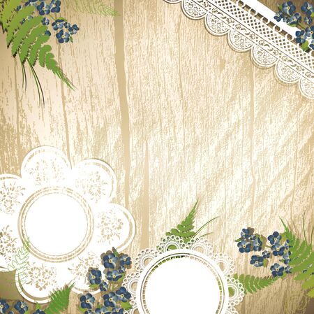 Vintage wooden background with flowers and lace, copyspace  Vector