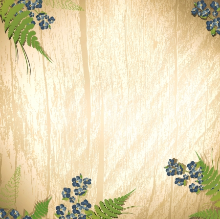 forget me not: wooden background with forget me not flower decoration Illustration