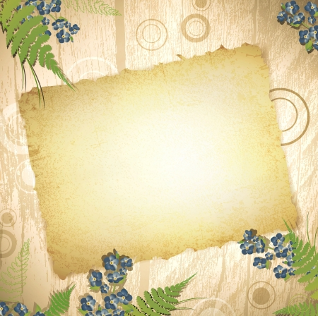 burnt paper: vintage grunge burnt paper at wooden background with floral decoration