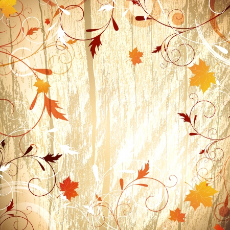 Autumn wooden background with floral and maple yellow leaves, copyspace for your text