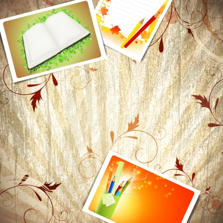 Vintage wooden education background with some schooling photos Stock Vector - 13810619
