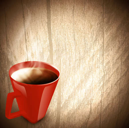 Vintage wooden background with red cup of coffee or tea with steam, copyspace  Vector