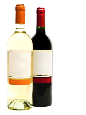 red and white wine bottles against the white background photo