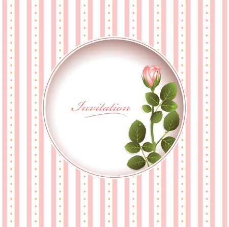 Wedding greetings or invitation card with pink rose Vector