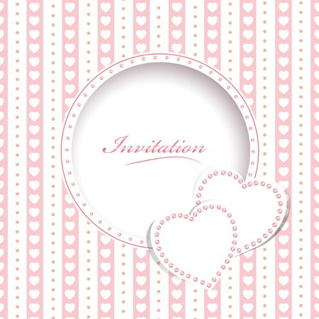 Wedding greetings or invitation card with hearts Vector