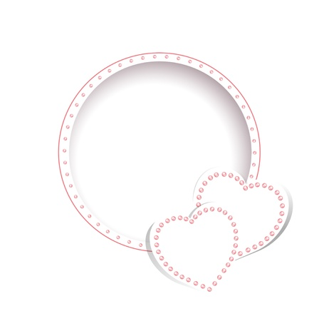 Wedding greetings or invitation card  template with hearts over white Vector