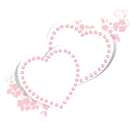 Pearl hearts with floral for wedding greetings or invitation card  Vector