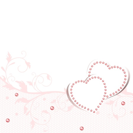 Wedding love frame  with hearts and lace frame, copyspace for your text Stock Vector - 13810793