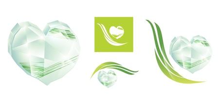 corazon cristal: coraz�n de cristal con el dise�o de la hierba verde que se distribuyen en blanco