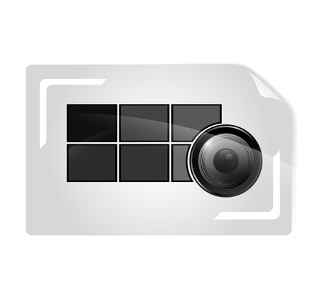 viewfinder: photographer abstract business card template with camera lens in abstract shutter photo frame Illustration