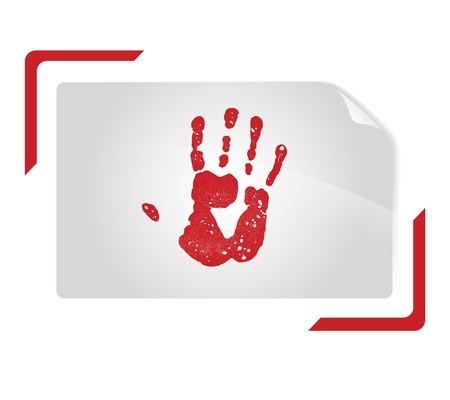 viewfinder: hand print  in abstract shutter photo frame over white