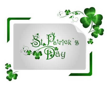 irland: St.Patrick Tag Begr��ung mit Shamrocks in abstrakten Verschlusszeit Bilderrahmen �ber wei�em