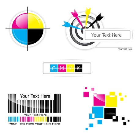 cmyk abstract: Creative CMYK design collection over white Illustration