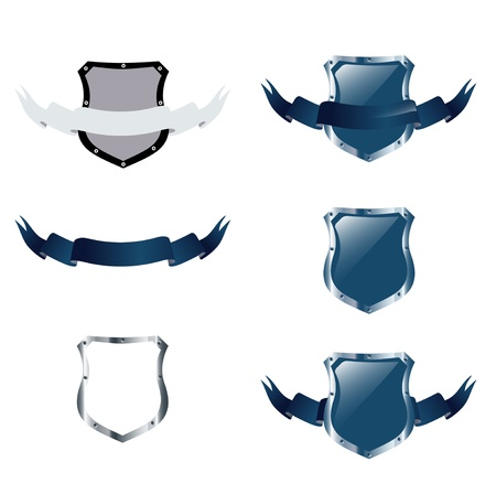 shields collection over white, copyspace for your text Vector