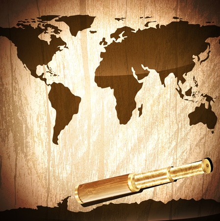 Illustration of the single antique brass telescope  at world map wooden background Vector
