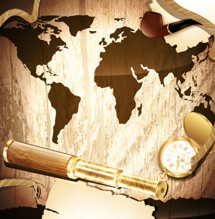 history background: travelling background with antique brass telescope, rope, vintage pocket watch and pipe at world map wooden background