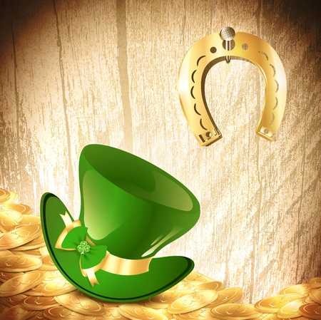 St.Patrick holiday background with gold coins, green hat and lucky horseshoe Stock Vector - 14083882