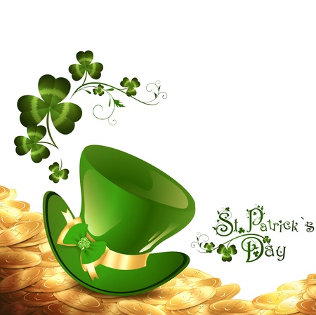 St.Patrick holiday background with gold coins, green hat and shamrock over white Vectores