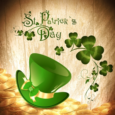 St.Patrick holiday background with gold coins, green hat and chamrock