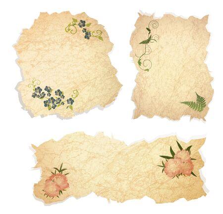 Piezas vintage de papel con decoración floral sobre fondo blanco