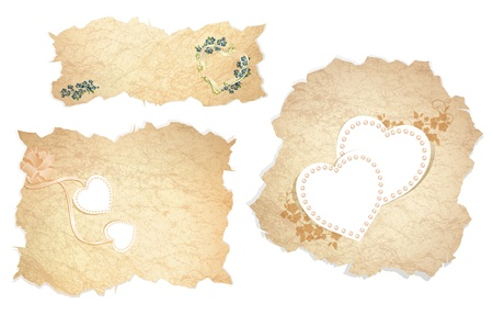 Vintage paper pieces with heart and floral decoration over white background Vector